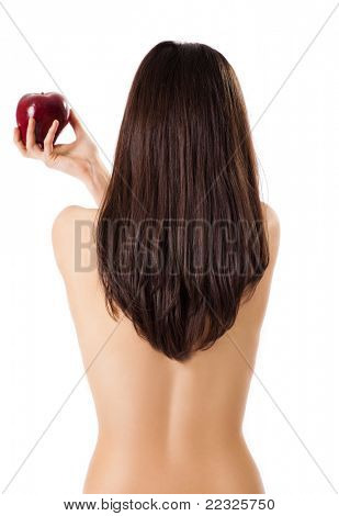 Topless female back to camera holding red apple in hand, isolated on white