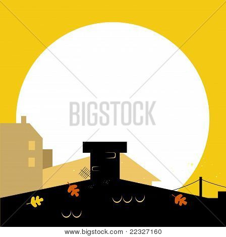 Autumn Town Black Wilhouette With Sunset - Vector Background.