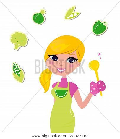 Cooking Woman Preparing Healthy Green Food Isolated On White - Vector.