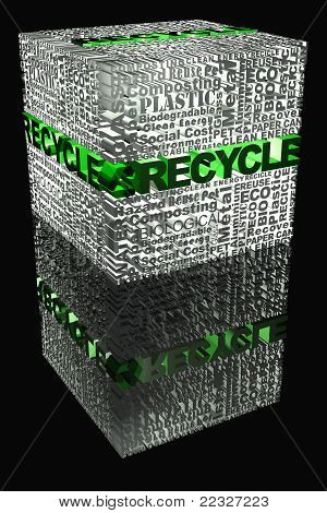 Cube With Recycle Words Related