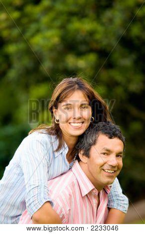 Happy And Energetic Couple Portrait