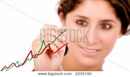 Business Woman Drawing A Chart On Screen
