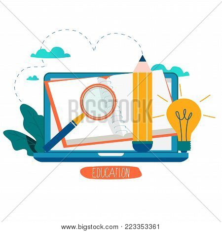 poster of Education, online training courses, distance education vector illustration. Internet studying, online book, tutorials, e-learning, online education design for mobile and web graphics
