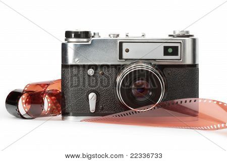 old rangefinder camera and film
