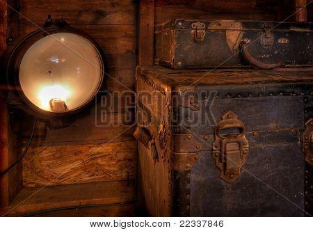 Vintage Lamp & Steamer Chests