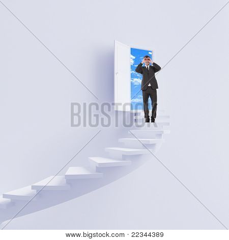 jovem sobe a escada do sucesso e uma carreira virtual. Colagem.