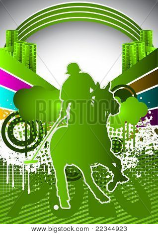 Abstract Summer Background With Polo Player Silhouette