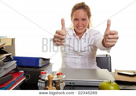 Business Woman At Work Holding Both Thumbs Up