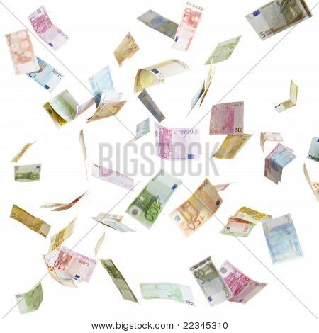 Flying Euro Paper Money