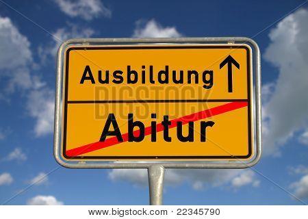 German Road Sign Graduation And Apprenticeship