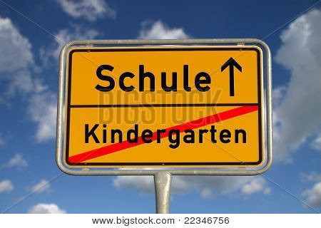 German Road Sign Kindergarten And School