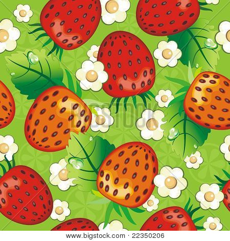 Pretty strawberry Seamless pattern on green background. Abstract Elegance seamless food pattern, vector illustration