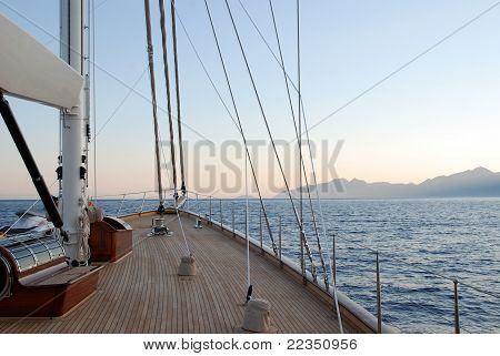Fore deck of a schooner type yacht