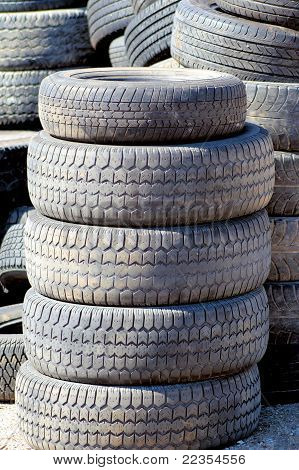 Old Tires At Landfill
