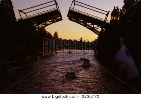 Sunset, Montlake Drawbridge Opening