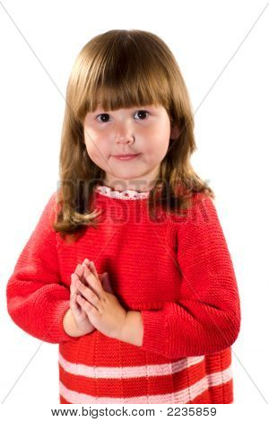 Little Girl Wearing Red Dress Praying For...