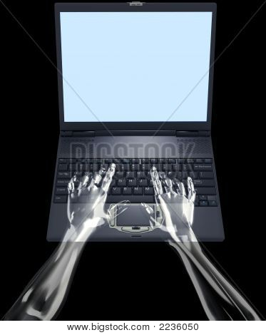 Glass Hands Type On Laptop