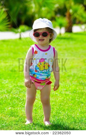 toddler girl in sunglasses