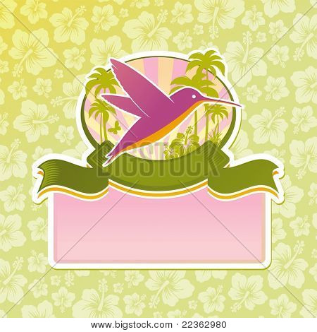 Tropical travel emblem. (Vector version of this work is available in my portfolio: # 51128953)