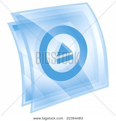 Eject Icon Blue, Isolated On White Background.