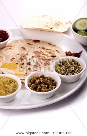 Indian Lunch - Chapatti And Curries