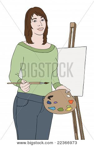 Young Artist Girl Near Easel, Vector