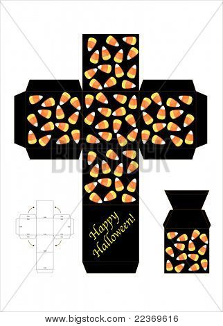 A template for a halloween candy gift box. Also available in vector format.