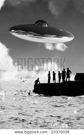 Ufo Over The Coast With People In Foreground