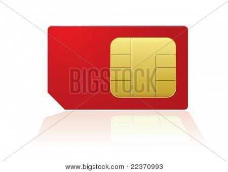 Red mobile phone sim with reflection in white background