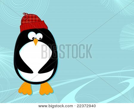 Penguin on ice landscape