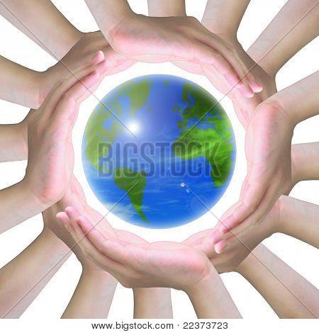 manos humanas, haciendo un círculo con el mundo