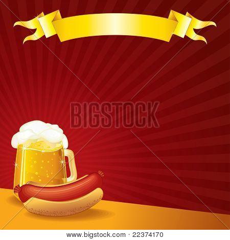 Sausage and Mug of Beer, vector illustration