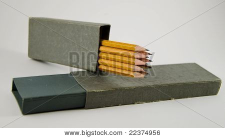Stack Of Drawing Grey Pencils In A Casing