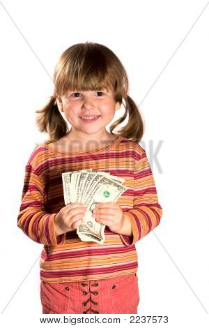 Girl Holding Bunch Of Dollars