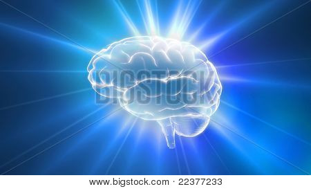 Blue brain outline flares
