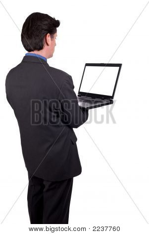 Businesswoman Holding A Laptop