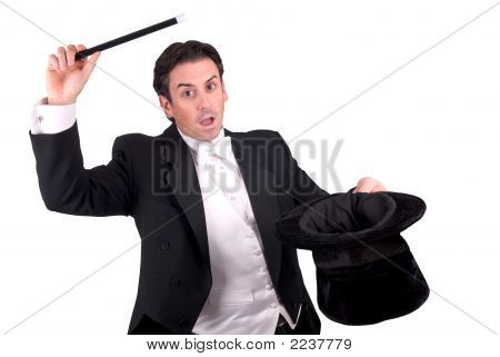 Magician Holding A Magic Wand