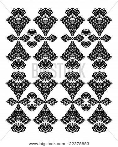 Decorative Floral Pattern Black