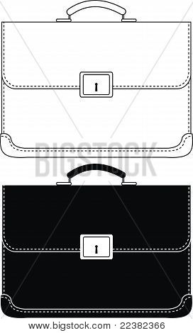 Black leather portfolio with metal buckle
