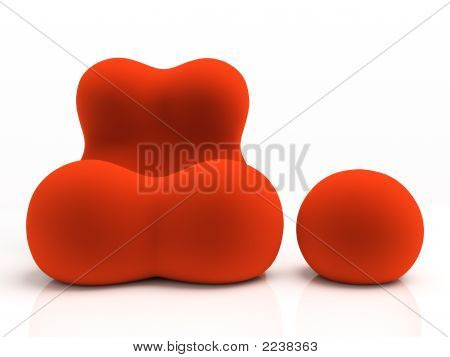 Red Armchair And Padded Stool Isolated On White Background