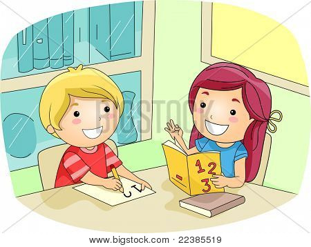 Illustration of a Kid Tutoring Her Friend