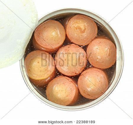 Opened Can Vienna Sausages