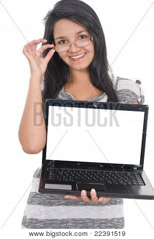 Beautiful Girl With Laptop