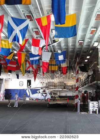 Naval Officers Hold An Open House On The Hangar Deck