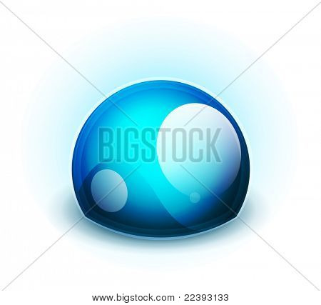 Blue glass abstract symbol. Vector technology concept