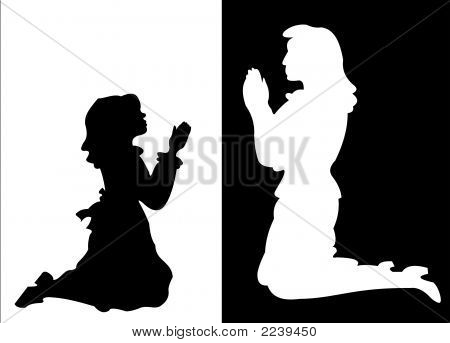 Girl And Woman In Prayer