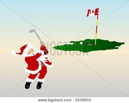 Santa At The 18Th Hole