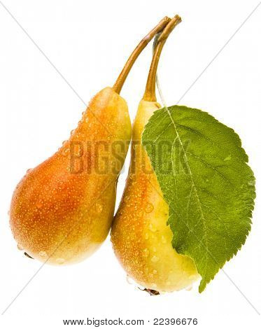 pear with leaf isolated on white