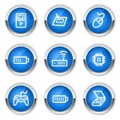 Electronics web icons set 2, blue buttons