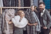 Woman In Fur Coat With Man, Shopping, Seller And Customer. poster